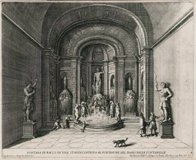 """""""Fountain of Bacchus in a room adjacent to the fountains on the fountain level"""" (Plate 8)"""